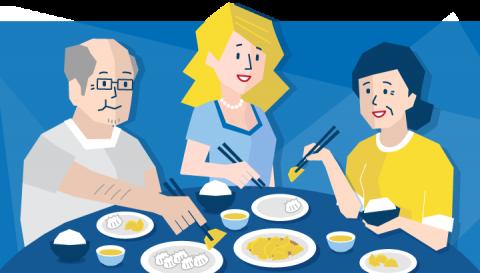 Kvinnelig elev spiser dumplings hos sin vertsfamilie