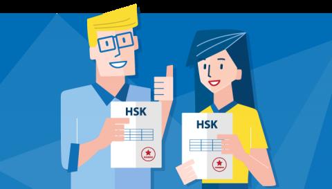 To lærere med sine HSK sertifiseringer