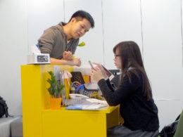 Alex og Fulala i resepsjonen i Shanghai