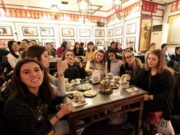 Italian students enjoying some food