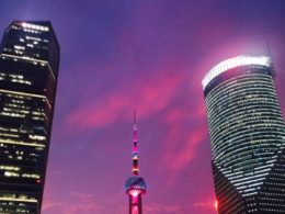 Bright lights at night in Shanghai
