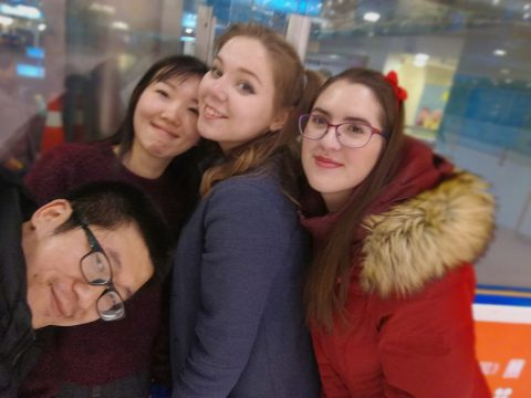 Elever på skøytebanen i Beijing